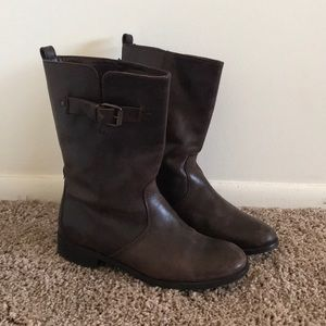 Jcrew Dark Brown Leather Boots with Side Buckle